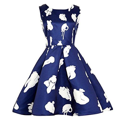 ien Kleider Girls Vintage Evening Dress Party Prom Swing Dress Weihnachten Valentinstag (Blau,EU-42/CN-XL) (Halloween Kostüme Für Die 50's Girl)