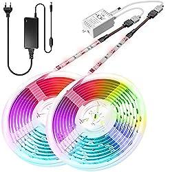 LED Streifen 10m, IP65 Wasserdicht 300 LEDs 5050 SMD LED Strip RGB Farbänderung, Lichterkette Lichtband LED-Strip-Kit mit Fernbedienung für Zuhause, Schlafzimmer, TV, Decke, Weihnachtsdekoration