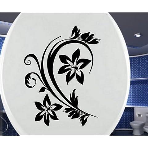 Tapa para WC Adhesivo Water Ramos Flores Pegatina Baño Decoración Floral Tatoo C 3 052 - Blanco brillo, 25cm