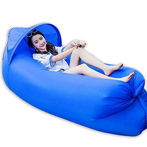 0,9kg tragbar Schnell aufblasbar Air Bett/Sofa/Boot für Outdoor Wandern Camping Lounge Strand und Garten Freizeit Schlafsäcke Camping Bett mit Sonnenschirm, dunkelblau