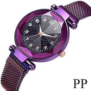 Armbanduhr Damen Fghyh Mode Sternenhimmel konvexen Glas Quarz Mesh mit Magnetschnalle Damenuhr