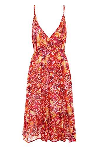 Pistachio Damen Mohnblumen Oder Gepunktet Aztekenmuster Trägerkleid Rot - Red - Spotted Aztec