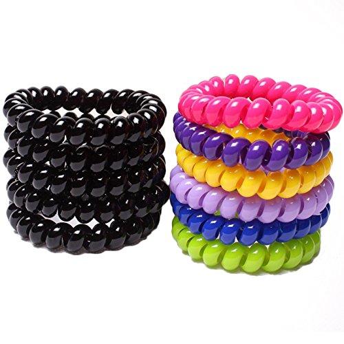 Miya Lot de 10 grands élastiques à cheveux de qualité supérieure Superbes élastiques à cheveux multicolores Effet câble téléphonique Élastiques à cheveux spirale en plastique Bijoux de cheveux Bracelets