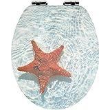 Sanwood by Nicol 6097437étoile de mer 3D Siège de WC en bois MDF, charnières métal chromé