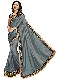 Taboody Empire Women's Stone Designer Grey & Navy Blue Shaded Paper Silk Embroidered Dazzling Saree