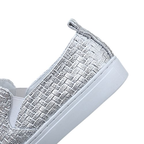 AIYOUMEI Damen Plateau Flach Sneakers Flach Slippers Slip-on Bequem Sommer Schuhe Silber