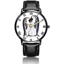 [kosung] de sirena muñeca reloj, personalizado unisex pulsera de acero inoxidable reloj de cuarzo con negro piel sintética muñeca banda [30m resistente al agua] para Business Casual colección propósito, hombre, W-26