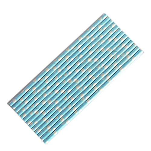 Da.Wa 25PCS/Set, 197X5MM Umweltschutz Farbe Hartpapier Strohhalm Einmalige Kunst Strohhalmsaft Milch Tee Milch Koks Strohhalm(Blau Dot)