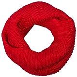 styleBREAKER Feinstrick Schal, einfarbiger Loop Schlauchschal, Feinripp Strickschal, Loopschal, Unisex 01018112, Farbe:Rot