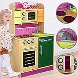 Cucina per Bambini in Legno | con Forno, Microonde e Pomelli, Altezza del Piano di Cottura 48 cm, per 2 3 4 Anni | Giocattolo Cucina, Gioco in Legno, Educazione, Tavola Divertimento