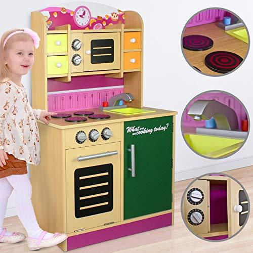Infantastic Kinderküche aus Holz | mit Herd, Mikrowelle und Schaltknöpfe mit echtem Klickgeräusch, Arbeitshöhe 48 cm, 4 Schubladen | Holzküche, Kinderspielküche, Spielküche, Spielzeugküche mit Tafel