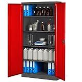 armadio metallico C001, armadio in acciaio, lamiera di acciaio, armadio strumento per ufficio, ripostiglio, armadio universale 195cm x 90cm x 40 cm (antracite/rosso)