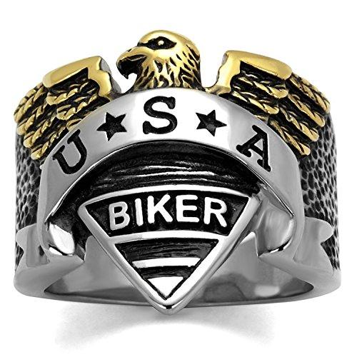 ISADY - US Biker - Herren-Ring - Edelstahl - Email schwarz «USA Biker» - T 67 (21.3)
