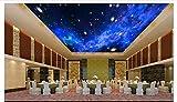 mznm Foto 3D Tapete Deckenleuchte Tapete Wandmalereien Creative Dreamy Night Starry Sky Deckenleuchte Wandbild Tapete Wohnzimmer 200x140cm