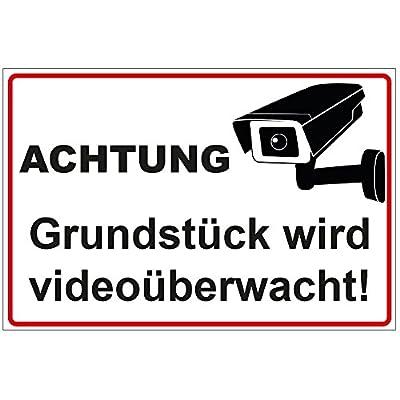 """Schild """"Achtung - Grundstück wird videoüberwacht"""" aus Alu / Dibond 200x140 mm 3 mm stark"""