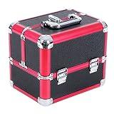 Songmics alu Kosmetikkoffer größe make up 6 fächern schwarz rot JBC314