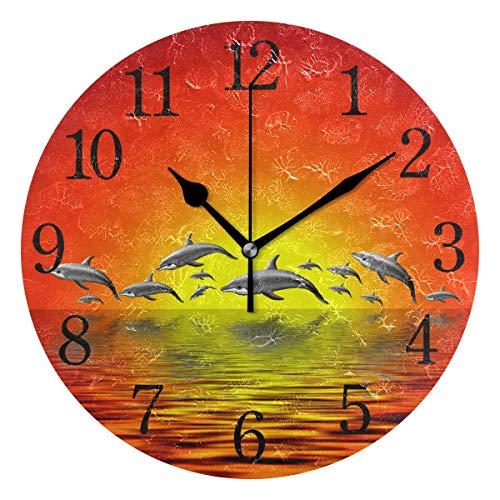 (WowPrint Wanduhr, Ozean-Tier-Delfin-Muster, Acryl, rund, Nicht tickend, dekorative Kunst-Malerei für Büro, Klassenzimmer, Schlafzimmer, Wohnzimmer, Badezimmer, Küche Dekor)