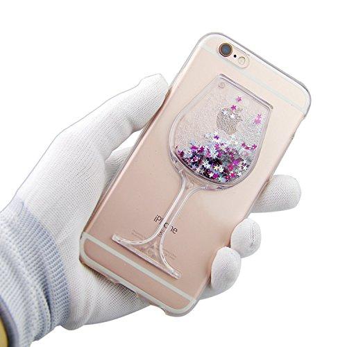 Custodia in silicone per iPhone 6/6S, colore: trasparente, iPhone 6S/6Custodia Sottile, trasparente vino vetro design dinamico Quicksand Liquid Fluente Liquido Galleggiante Stars cover BRILLANTINI GL argento