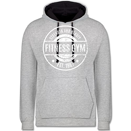 CrossFit & Workout - Fitness Gym Strength and Beauty - Kontrast Hoodie Grau meliert/Dunkelblau