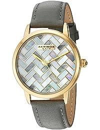 Akribos XXIV Reloj automático de cuarzo para mujer Metal y Cuero, Color: Gris