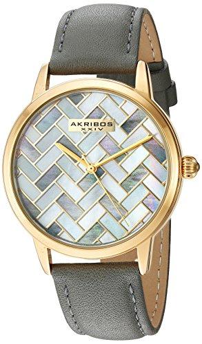 Akribos XXIV-Orologio da donna al quarzo Con quadrante in madreperla, Display analogico e cinturino in pelle, AK906GY, colore: grigio