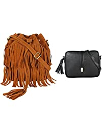 Lychee Bags Girls Pack Of 2 PU Tan Fringe Sling & Black Sling Bag (CMB2_LBHBPU80BLK_LBHBPU74T)