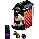 Nespresso Pixie Red YY1202 Krups  - Cafetera monodosis (19 bares, Apagado automático, Sistema calentamiento rápido), Color rojo