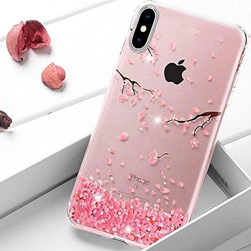 t iPhone X Rosa Kirsche Blumen Hülle Bling Glänzend Glitzer Kristall Strass Diamant Handytasche Handyhülle Transparent Durchsichtige Handyhülle Crystal Clear TPU Silikonhülle ()