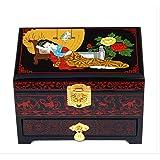 KEMANDUO Schmuckschatulle - Hölzerne Retro-Dressing-Box - Chinesische Hochzeit Aufbewahrungsbox - Drei Ebenen mit Schloss - Einrichtungsgegenstände - Geschenke,2