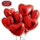 XUNKE 25 Globos de Papel de Aluminio,Globos en Forma de Corazón para la Decoración del Partido Propuesta de Matrimonio Boda Aniversario Cumpleaños Decoración de Helio | Regalo (Rojo)