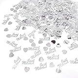JZK 4 Pack Kunststoff Just Married Herz Silber Hochzeit Streudeko Konfetti Werfen Konfetti Tischdeko Confetti