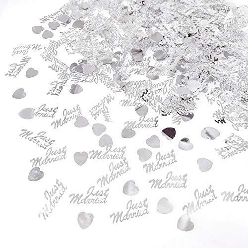 JZK 4 Pack Kunststoff Just Married Herz Silber Hochzeit Streudeko Konfetti Werfen Konfetti Tischdeko Confetti (Hochzeit Tischdekoration Ideen)