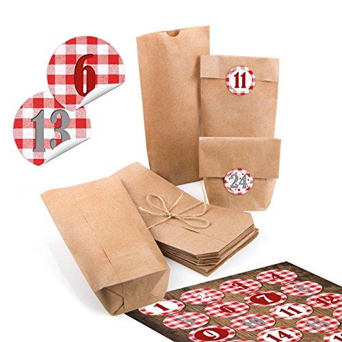 24pequeñas bolsas de papel natural marrón papel kraft 10,7x 22x 4,2cm + 1hasta 24Números cifras redondas Pegatinas Calendario de Adviento rojo blanco a cuadros Calendario Manualidades rellenar Mini de bolsas
