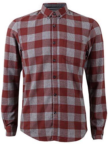 TOM TAILOR Denim Herren Freizeithemd Cozy FLA, Größe:L, Farbe:Check Red (15332)