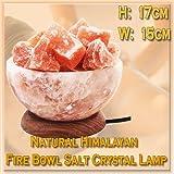 Natural Del Himalaya Curativo Fuego Bol Sal Cristal Lámpara Cesto Unidos Base De Madera