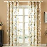 Top Finel Blume Fenster Vorhang Oesenschal Panels mit Oesen Gardinenschal 1 Stueck, 1 Stueck,Rosa 195x215cm
