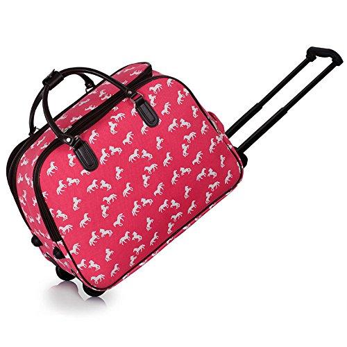 Meine Damen Reisetaschen Holdall Frauen Handgepäcks Pferd Print Wochenende Rolliges Laufwerk Handtasche Rosa