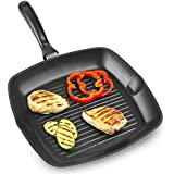 Andrew James 28cm Cast Aluminum Griddle Pan - Suitable For All Types Of Hobs Including Induction