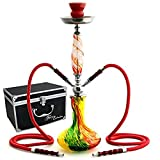 GSTAR 22 2 Hose Hookah Complete Set with Optional Carrying Case - Swirl Art Glass Vase - (Rasta Red w/ Case)