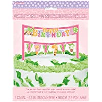 Unique Party - Decorazione per torte, per feste, motivo: Safari, per primo compleanno, colore: rosa