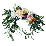 P Prettyia Lebendig Rose Dekoration Seidenblumen Blumen Hängedeko Blütenkranz Dekoration für Tür Wand Stuhllehne Schaufenster Zimmer und allen anderen Orten