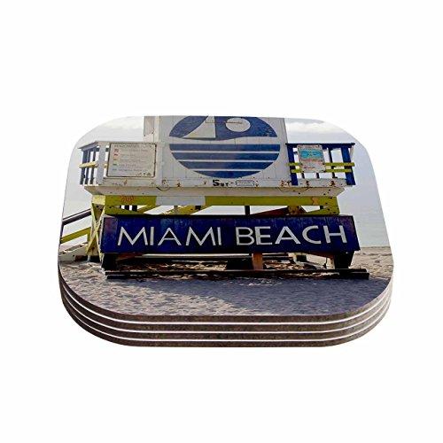 Kess eigene Philip braun Miami Beach Lifeguard Ständer Blau Untersetzer (4Stück), 10,2x 10,2cm Multicolor (Urban Wand-dekor)