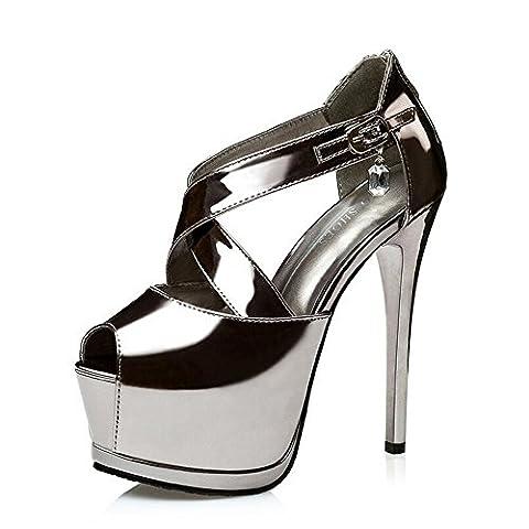 Women's Patent Leather Ankle Straps Sexy High Heel Sandal Pumps Dark Gray EU Size 39-UK 5