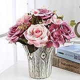 B-Unechte Blumen,KüNstliche Deko Blumen GefäLschte Blumen Seidenrosen Plastik Braut Hochzeitsblumenstrauß FüR Haus Garten Party Blumenschmuck(einschließlich Vasen) , 038