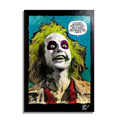Michael Keaton aus Beetlejuice (Tim Burton, 1988) - Original Gerahmt Fine Art Malerei, Pop-Art, Poster, Leinwand, Artwork, Film Plakat, Leinwanddruck