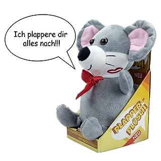 art decor Plapper - Labermaus / Sprechender Plüsch-Maus mit Aufnahme- und Wiedergabefunktion, bewegt Sich, batteriebetrieben