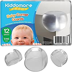 Kiddomore SUPER SALE 12 Pack Baby Proofing Corner Guards - FREE My Baby Safety Tips Ebook Included - Clear Soft Edge Safe To Use Protector Bumpers For Your Home