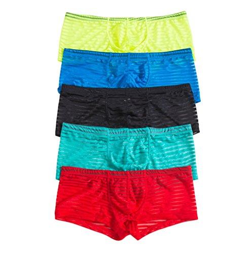Mesh-low Rise Thong Panty (YFD Herren Boxershort Mehrfarbig Black&Blue&Yellow&Green&Red Gr. XL, Boxers)