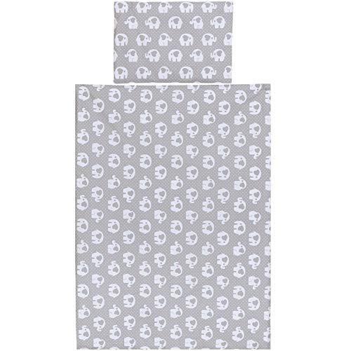 Ropa de cama bebe para cuna de Algodón, 2 piezas; Elefante gris