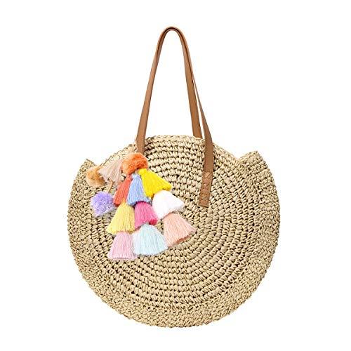 Mini Cute Damen Straw Woven Handtasche Sommer Strandtasche Tasche aus Leder Schultertasche Große Stroh Tasche mit Pompon